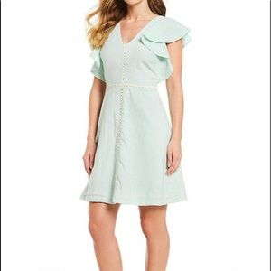 IMNYC Ruffle Sleeve Embroidered Trim Dress